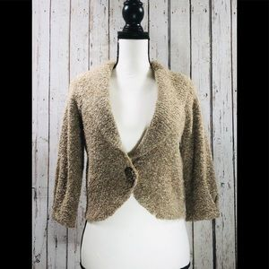 Tan Tweed Collared Cardigan by JH Collectibles